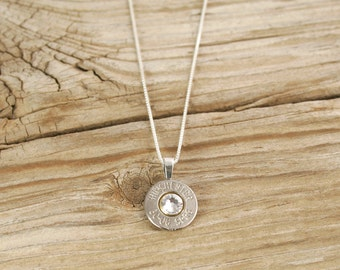 Bullet Necklace / 30-06 Nickel Bullet Head Sterling Necklace with .925 Sterling Silver Box Chain WIN-3006-N-SBHN / Bullet Head Necklace