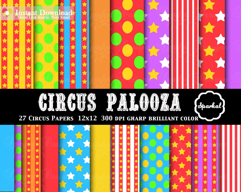 Circus digital paper this is great birthday party for Themed printer paper
