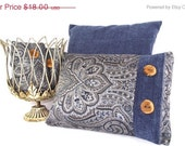 Pillow Cover 12x16 Paisley Print Deep Blue, Light Blue, Gray, Silver. Trimmed in Deep Blue Chenille Fabric