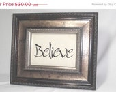 Stenciled Picture in Frame Believe on Natural Linen