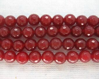 Beautiful Full Strand Dark Red Jade Faceted Round Beads 10mm