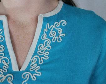 DRESS - TURQUOISE - linen - wiggle dress - short sleeve - pleats - size S