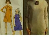 "1960s A-Line Dress Pattern, Panelled, Raglan Sleeves, High Neck, Sleeveless, Simplicity Designer Fashion No. 7239 Size 12 (Bust 32"" 82cm)"