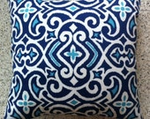Big Pillow Cover in Navy & Turquoise Print
