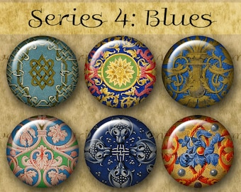 BLUE ILLUMINATIONS 1 inch Circles - Series No. 4 Digital Printables from Old Manuscripts for Jewelry Magnets Crafts