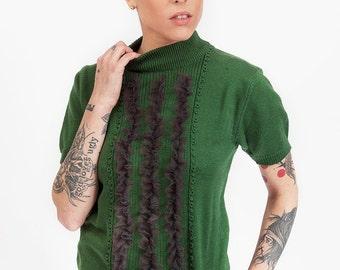 Green & Plum Ruffle Sweater