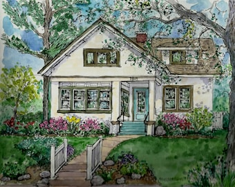 House Portrait in Watercolor and Pen by Patty Fleckenstein,Custom Original House Portrait,House Painting,Your Home Painted,Unique Gift
