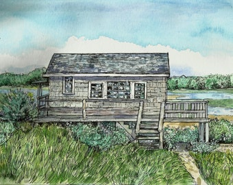 Watercolor House Portraits , Summer homes, Custom hand-painted House Portraits