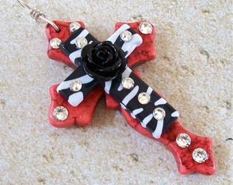 Coral Colored Stone Curvy Cross with Zebra Acrylic Cross, Black Acrylic Rose and Bling