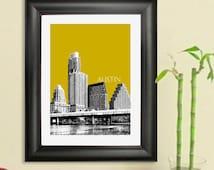 Austin Skyline Poster Art Print, 8x10 - Choose your color