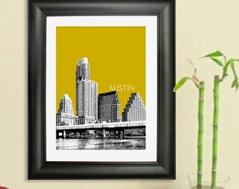Austin Skyline Poster Art Print, 8x10 - Choose your color