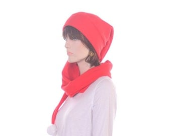 Red Orange Stocking Cap Extra Long Scarf Hat White PomPom Men Women Hat