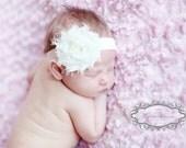 Ivory Shabby Chic Rose Headband, Infant Headband, Newborn Headband, Children's Headband, Headband, Baptism Headband, Christening Headband
