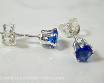 4mm Sapphire Lab Created Earring Studs in Sterling Silver Settings, ready to ship