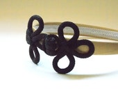 Black Vintage Chinese Corded Frog headband, Golden Satin Covered Band