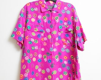 Vintage Silk 80s/90s Wild Print Button Up Colorful Short Sleeve Shirt