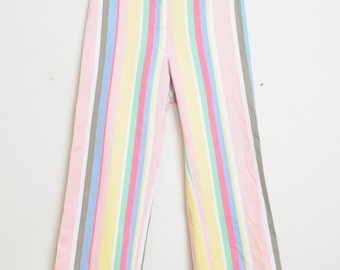 Vintage 80s/90s Preppy Pastel Striped High Waisted Clueless Vibe Pants