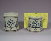 Sponge Holder  Blue Bunny Rabbit  Stoneware