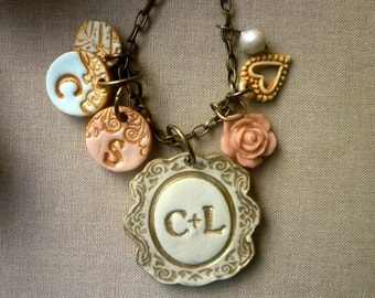 My Family - A couple and kids initial necklace