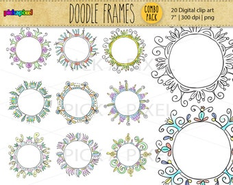 20 Digital Doodle Round Frames - clip art - COMBO PACK - Personal and Commercial Use