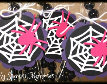 S/15 DIY Spider Girl Pink Party Favor Treat Bags