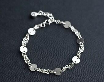 Sequin Disc Bracelet, Sterling Silver Sequin Bracelet,Tiny Discs Bracelet, Tiny Discs and Cubic Zirconia Bracelet, Modern Everyday Jewelry