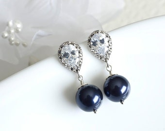 Bridesmaids Navy Blue Swarovski Pearl Earrings, Navy Blue Earrings, Navy Blue Swarovski Pearl and Cubic Zirconia Stud Earrings