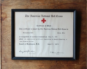 VINTAGE Red Cross Framed Certificate - Certificate of Merit - 1954
