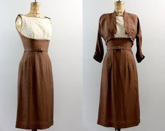 vintage 1940s dress / 40s brown dress / bolero dress xs