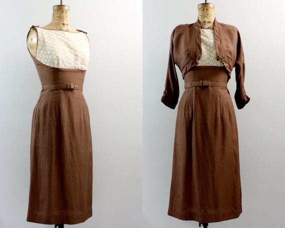 Items similar to vintage 1940s dress 40s brown dress for Lampen 40er jahre
