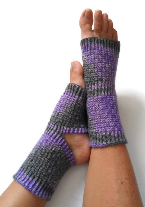 Knitting Pattern For Pedicure Socks : Yoga Socks Hand Knit in Amethyst Pedicure Pilates Dance