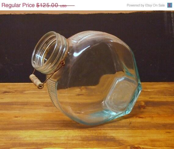 ON SALE AWESOME Art Deco Flat Side Aqua Glass Jug with Bail Handle Perfect for Terrarium Fish Tank or Lemonade
