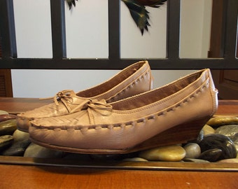 1980s Wedge Flats * Tan Leather Loafers * Made in Brazil SRO * Womens size 7