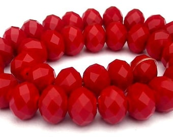 26 opaque red beads, 8mm x 6mm deep crimson rondelles, velvet Chinese crystal