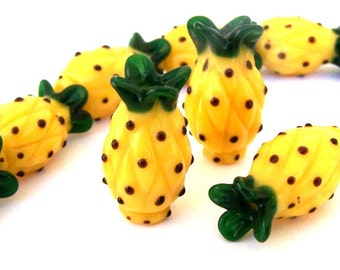 4 pineapple beads, fruit lampwork glass beads, 20mm to 22mm tall and 12mm wide