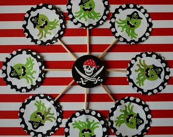 Pirate Cupcake Toppers - Set of 10 - Personalization Available