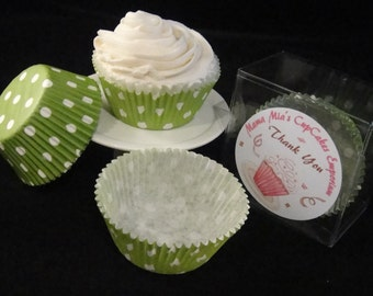 Grass Green with Medium White Polka Dots Cupcake Liners