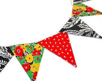 SALE Retro Bunting Vintage fabric  80s 70s flower and dotty red, black and green