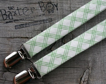 Green pinstripe diagonal plaid little boy matching suspenders - photo prop, wedding, ring bearer, accessory