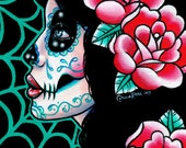 Sugar Skull Girl Signed Limited Edition Art Print - Lost in Reverie - Day of the Dead Tattoo Flash - 4 of 25 - 5x7 inches
