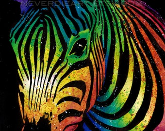 5x7, 8x10, or apprx 11x14 in Art Print - Black and White or Rainbow Zebra - Safari Animal Art Colorful Pop Art Home Decor