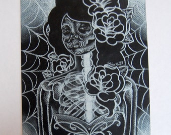 ORIGINAL DRAWING The Faint 8x10 in Colored Pencil Drawing on black drawing board by Carissa Rose Dia De Los Muertos Girl Portrait