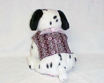"""Doggie Harness Vest  Small Dog Pink Daisy On Chocolate Print Size Small 14"""" Chest"""