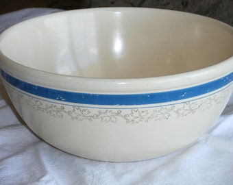 Vintage Light Yellow and Blue Bowl