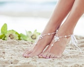 Soleless sandals, foot jewelry, beach wedding barefoot sandals, barefoot shoes, footless sandals, beaded foot jewelry. JESSICA White Small