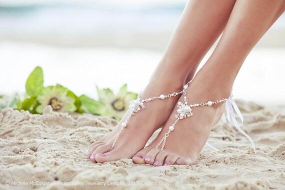 Soleless sandals, foot jewelry, beach wedding barefoot sandals, barefoot shoes, footless sandals, beaded foot jewelry. JESSICA White Small
