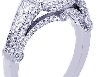 18k white gold princess and round bezel set diamond engagement ring 1.95ctw