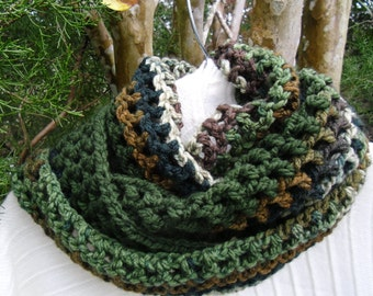 Cozy and soft  chrochet Infinity scarf in forest greens , browns,  and beige