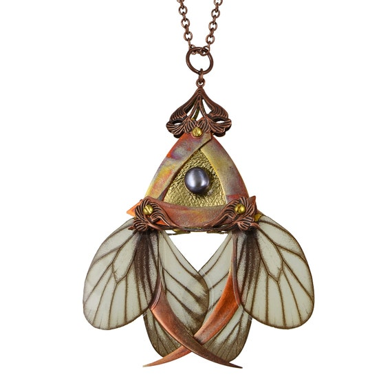 KEIKI / Copper Butterfly Necklace with Secret Blades / Free Shipping