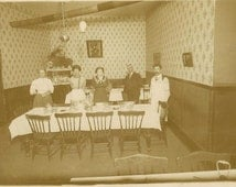 Cabinet Card Dining Room at the Inn or Boarding House  likely Eastern Ontario
